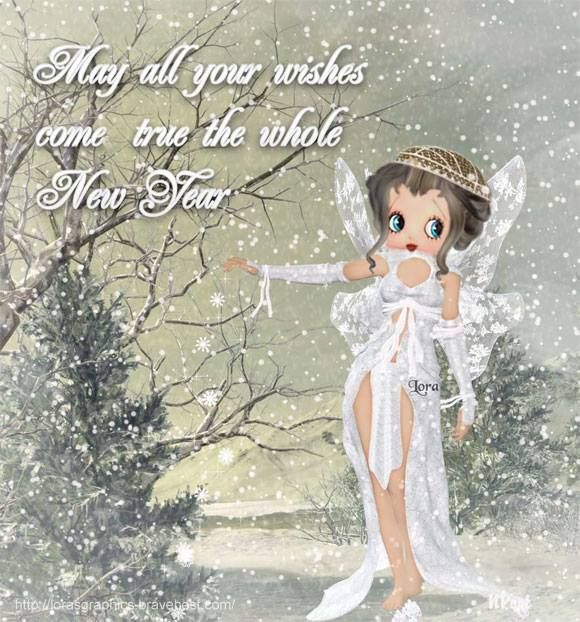 May all your wishes come true the whole New Year - Betty Boop Christmas & Winter Graphics & Greetings GO TO ➡ http://boopchristmas.blogspot.com/  Lovely #BettyBoop angel greeting was created by Hilda Lora #HappyNewYear