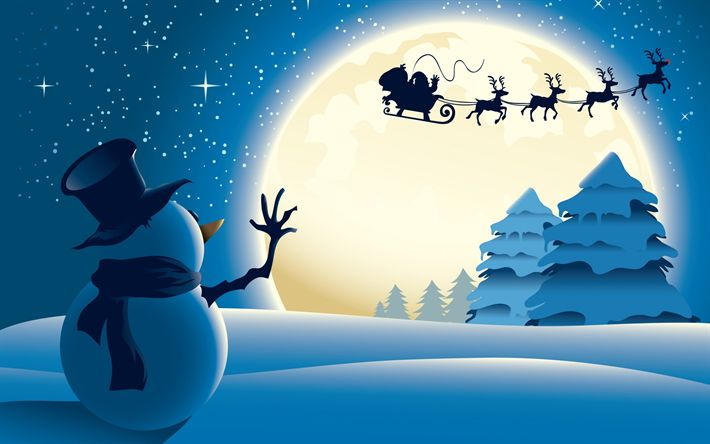 Download wallpapers winter, snowman, New Year, Santa Claus, harness, deer, sleigh, night, forest, snow