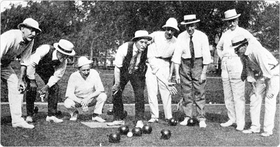 Lawn bowling at the Parade Grounds of Prospect Park, circa 1919. Courtesy of the Parks Photo Archive, Neg. AR1328.
