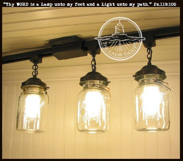 A Mason Jar TRACK LIGHT Of 3 Vintage Quarts. Track LightingLighting IdeasVintage  ...