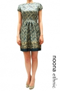 Batik Print Dress With Pleated Waist In Teal