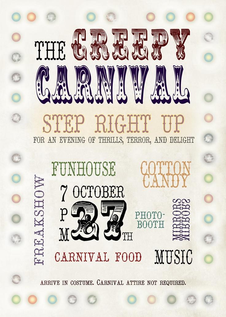 Creepy circus carnival halloween party invitation   Creepy ...