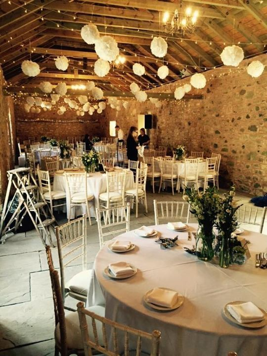 Barn wedding table setting - Wedderburn Barns, Scotland