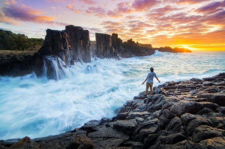 Deliver Me by William Patino - Photo 131890435 / 500px.  Source: https://500px.com/photo/131890435/deliver-me-by-william-patino  #landscape #sunrise #sea #nature #ocean #person #model #wave #longexposure #australia #colorful #slowshutter #bombo #seascape #bomboquarry