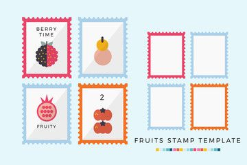 Vectored Fruits Stamps Collection Organic Icon Stamp