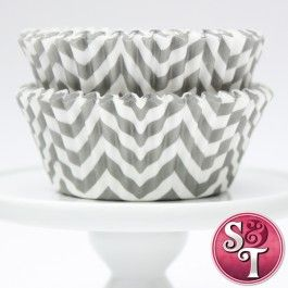 Chevron Cupcake Liners: Gray |  $3.75 for 50 count pack