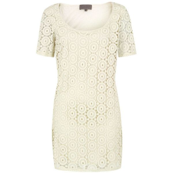 Great Plains J1mb7 Amy Lace Cream Tea Dress (130 BRL) ❤ liked on Polyvore featuring dresses, cream dress, lace shift dresses, cream lace dress, white tea party dress and white shift dress