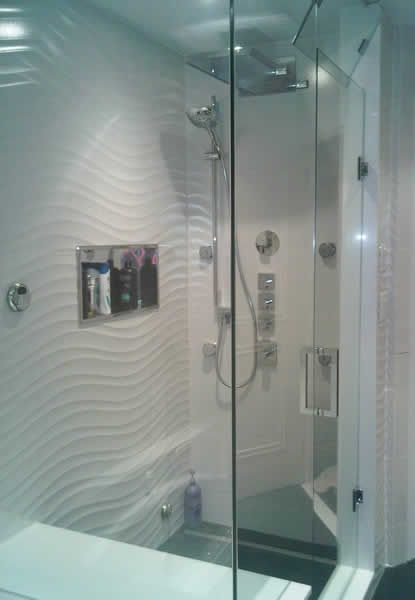 Shower enclosure mr steam shower with aromatherapy for Shower cubicle shelves