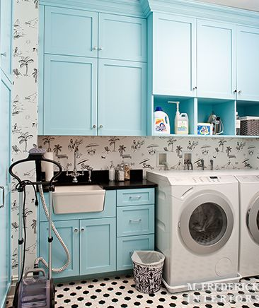 chic black, white and Tiffany blue laundry room...just not the wallpaper
