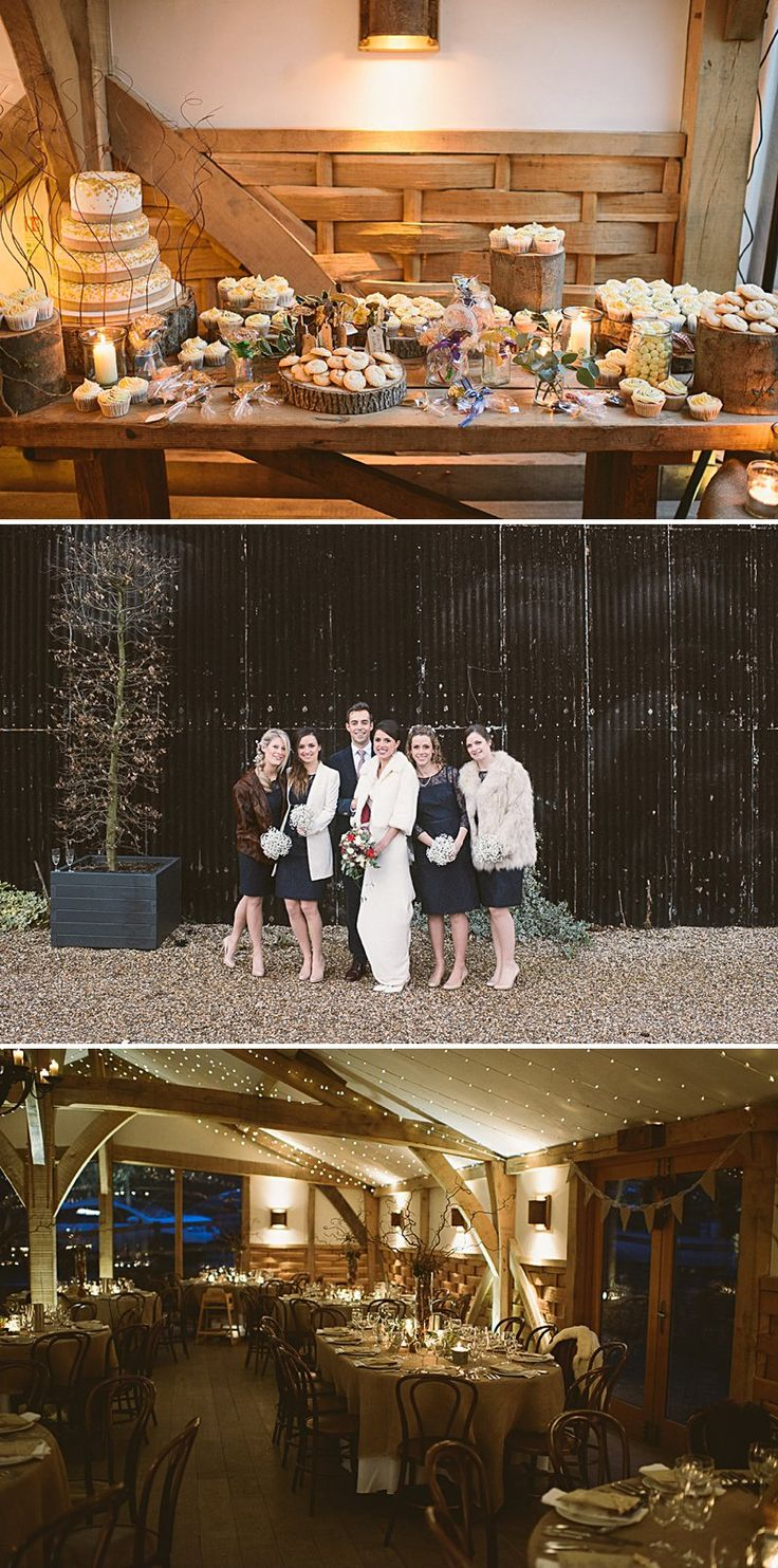 barn wedding venue london%0A A rustic winter wedding at Cripps Barn with DIY home made decor and  Halfpenny London bridal gown  blue maids dresses and photography by Ellie  Gilliard
