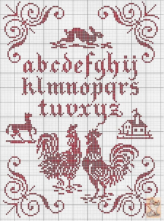 "Red cross-stitch. I love this, but why is there no ""W"" ?"