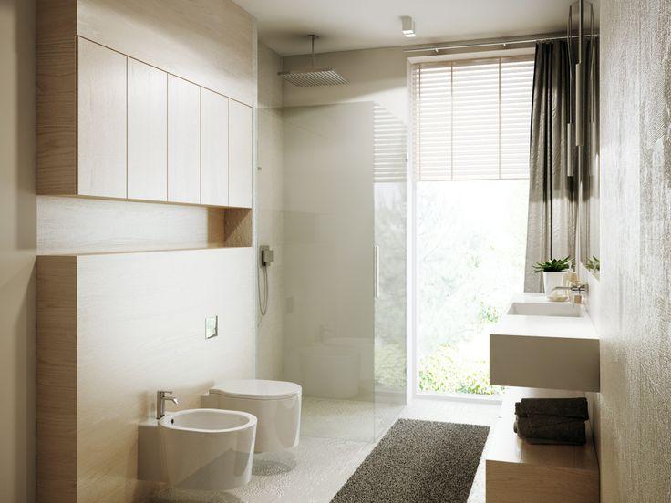 Drewniana ściana w łazience