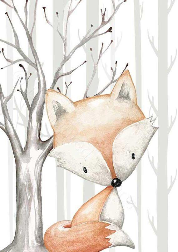 Wald Kinderzimmer Dekor 6 Drucke Set, Wald Tier Drucke, Wald Kinderzimmer Drucke, Boho Wald Tiere, Waldtiere Kinderzimmer Wandkunst