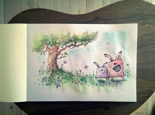 #Rabbit jump. Ellas Rabbits on my background. Watercolour - A3