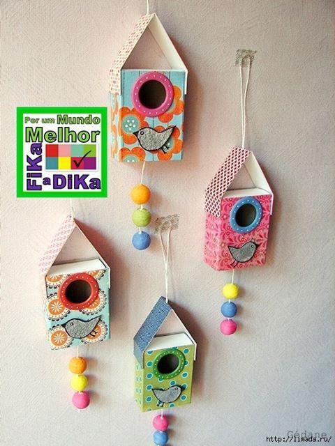 Foto: Casa de passarinho feito com caixa de fósforo ou outra que queira…