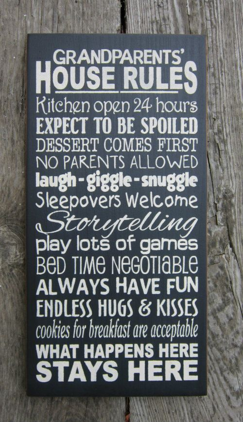 Large Wood Sign Grandparents House Rules NEW SIZE  Christmas!!!