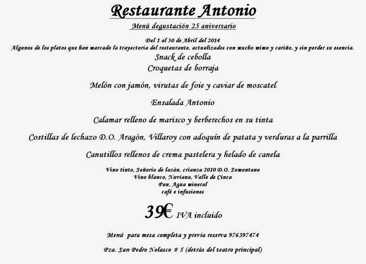 GASTRONOMÍA EN ZARAGOZA: Restaurante Antonio. Menú degustación 25 aniversar...