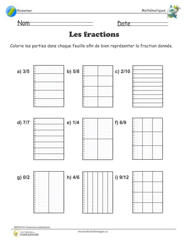 Exercice - Les fractions en 2020   Fractions, Exercice ...
