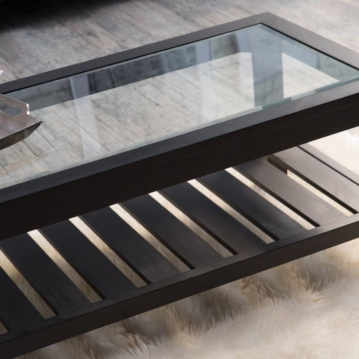 Sutton Glass Top Coffee Table with Slat Bottom - Coffee Tables at Hayneedle