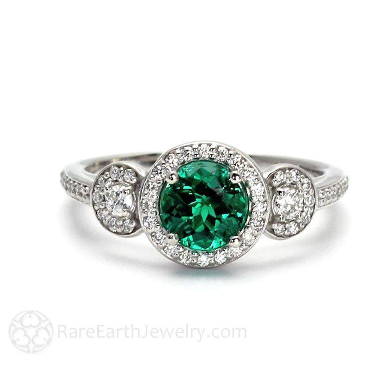 Emerald Engagement Ring Emerald Ring 3 Stone with Diamond Halo May Birthstone Green Gemstone 14K or 18K Gold - http://emerald-engagementring.com/emerald-engagement-ring-emerald-ring-3-stone-with-diamond-halo-may-birthstone-green-gemstone-14k-or-18k-gold/