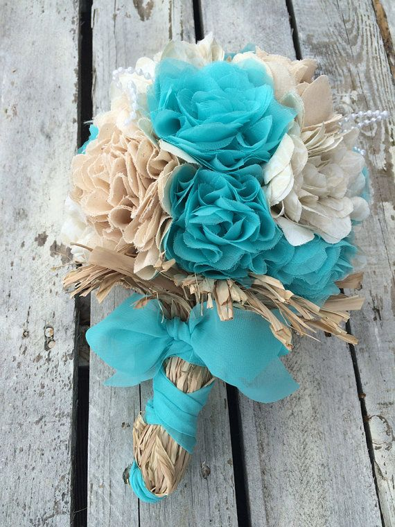 Captivating Teal Bridal Bouquet Wedding Bouquet Teal Fabric By