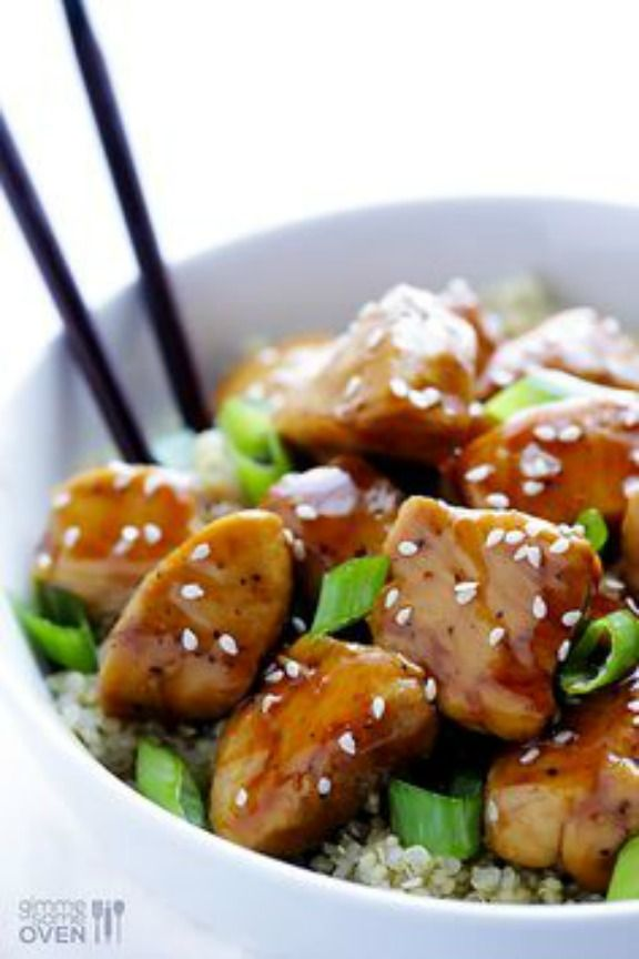Sesame Chicken with Quinoa   gimmesomeoven.com