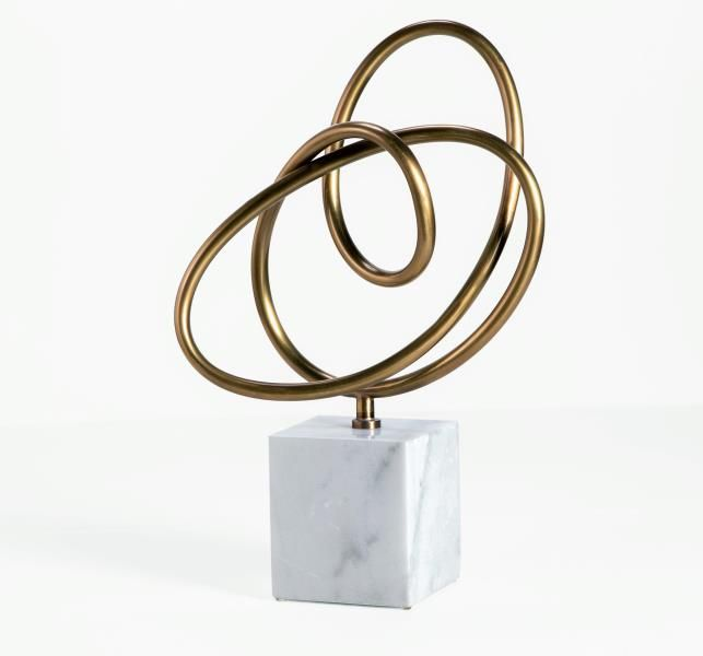 "Top pick #2 by Jennifer Brouwer www.jenniferbrouwerdesign.com Interlude  Boucle Knot   Boucle Knot - Antique Brass 24""h x 15"" x 6"" metal/ marble antique brass/ white #HPMKT"