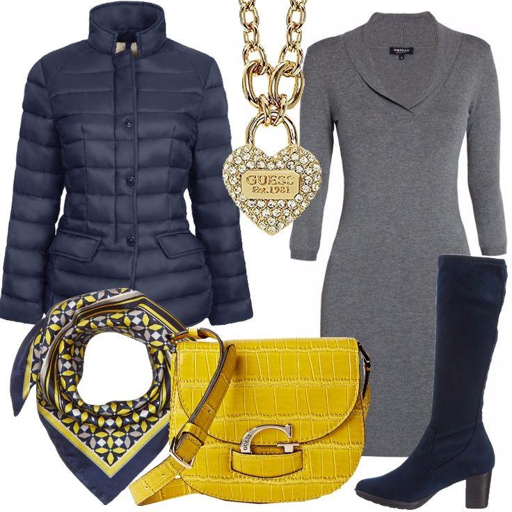 Un outfit per tutti i giorni, ravvivato da accessori che lo rendo luminoso ed allegro. Pratica giacca blu, imbottita, bottoni, tasche con patta, abbinata a vestito grigio, collo a scialle, linea aderente, maniche 3/4, lunghezza sopra al ginocchio. Stivale blu, cerniera, punta tonda, tacco a cono, borsa a tracolla gialla, foulard, blu in fantasia, collana con splendido ciondolo a cuore.
