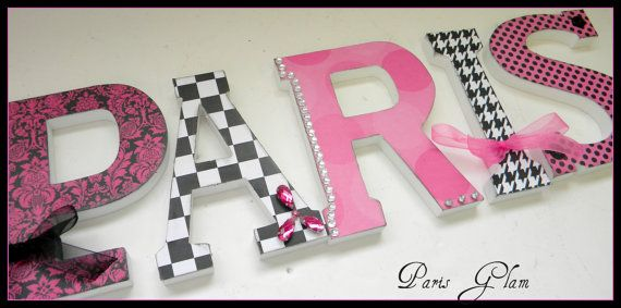 Girls Wooden Wall Letters - Paris Glam Theme SINGLE LETTER - Hot Pink Black and White-avail in any size or font in this shop
