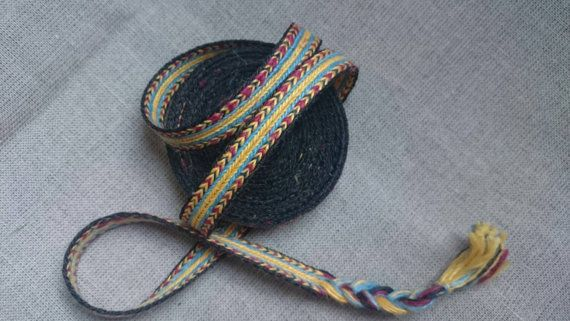 Tablet weaving braid, linen, card weaving trim, 3,65 m