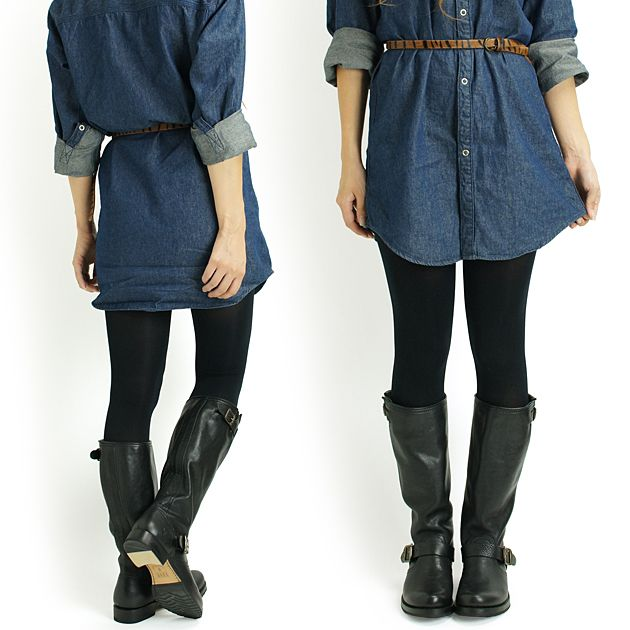 FRYE VERONICA SLOUCH BOOTS with denim dress, tights and belt