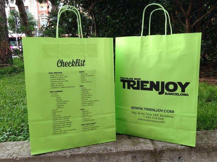 Paper bag for Trienjoy Triathlon Shop #checklist #triathlon