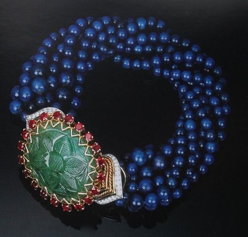 Cartier Paris 1965 Carved Emerald Ruby Lapis Lazuli Bead Torsade Bracelet.