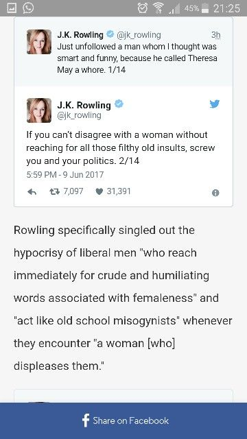 J.K. Rowling blasts the hypocrisy of sexist 'liberal' men in an epic tweetstorm. Link: http://www.upworthy.com/jk-rowling-blasts-the-hypocrisy-of-sexist-liberal-men-in-an-epic-tweetstorm?g=2&c=ufb1