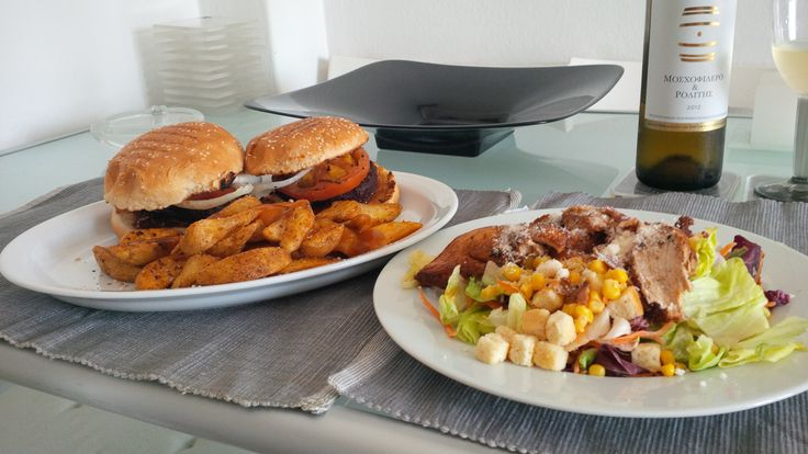 CaptainChris burgers, chips and Ceasar salad