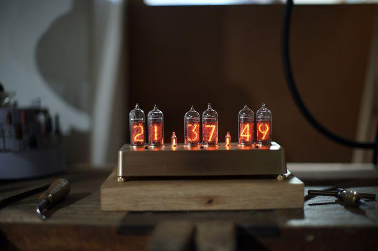 nixie tube clock / brass ver.