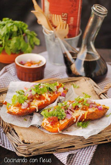 Cocinando con Neus: Boniatos asados con tomate y cilantro
