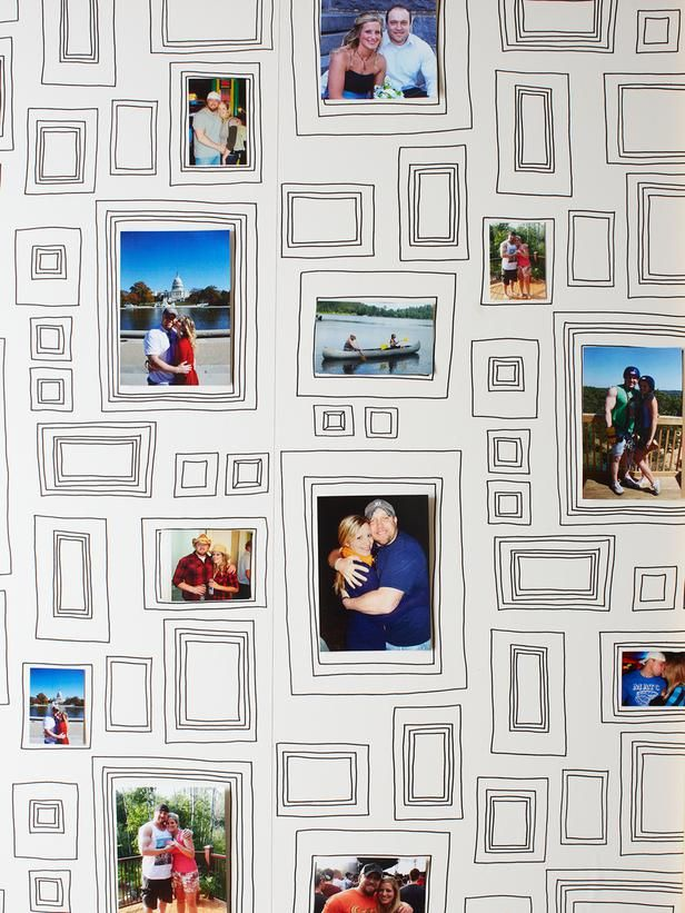 This wallpaper is too fun! Tack your favorite photos right on the frame-patterned design. http://www.hgtv.com/living-rooms/most-embarrassing-living-room/pictures/page-8.html?soc=pinterest