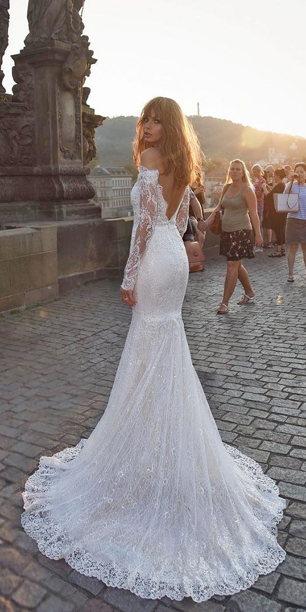 mermaid off the shoulder low back lace long sleeves wedding dresses