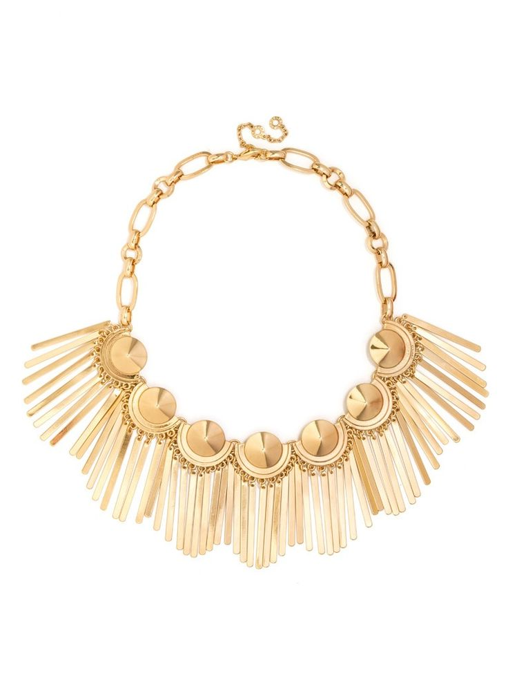 This showgirl-esque statement collar features glossy gold medallions dripping with metallic fringe for a megawatt statement that sits high on the neck. $48