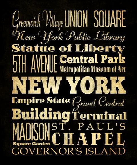 New York, New York, Typography Art  Canvas / Bus  / Transit / Subway Roll Art 20X24 - New York's Attractions Wall Art Decoration -  LHA-190 on Etsy, $164.95