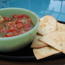 The Best Fresh Tomato Salsa - Allrecipes.com  Add 1 clove garlic, use 1/2 onion, 5-6 tomatoes.  Use 1/2 onion.