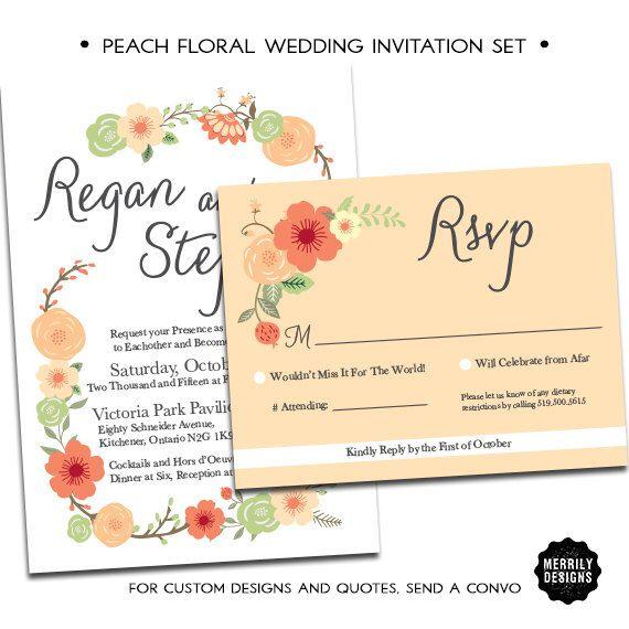 Peach Floral Wedding Invitation Set