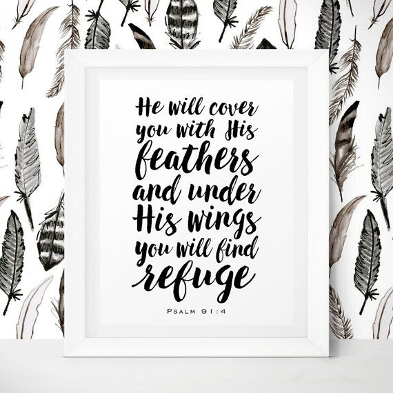 Bible Verse Wall Decor Psalm 91 4 He Will Cover You With His Feathers Nursery Bible Verses Christian Nursery Wall Art Christian Printables