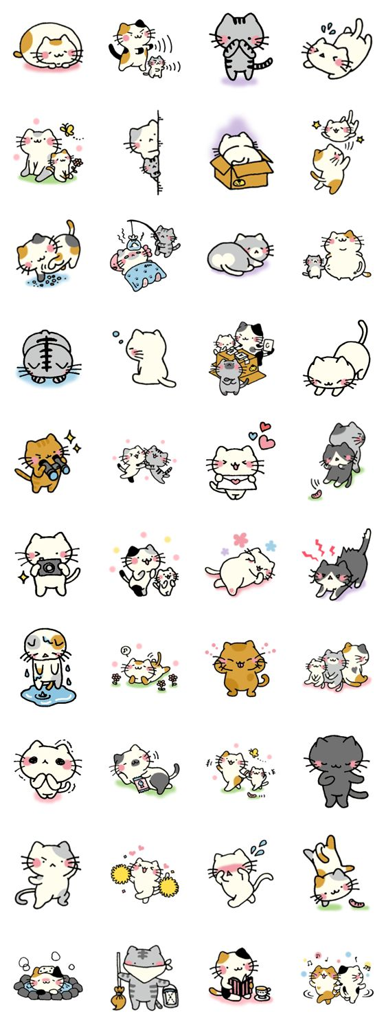 Adorable Kawaii cat illustrations 画像