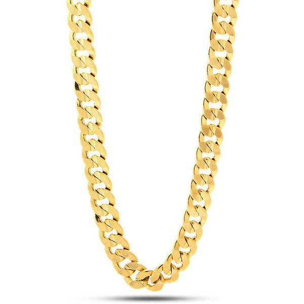 King Ice 14K Gold 12MM Cuban Curb Chain ($80) ❤ liked on Polyvore featuring men's fashion, men's jewelry, men's necklaces, jewelry, jewelry., gold, mens gold necklace, mens gold chain necklace, 14k gold mens necklace and mens chain necklace