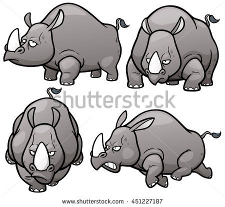 vector illustration of cartoon rhinos character set vector disney cartoon characters vector disney cartoon characters
