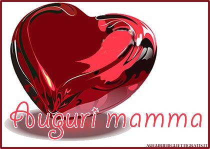 biglietto di auguri per la festa della mamma con cuore rosso