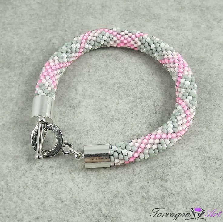 #handmade #jewellery #pink #toho Bransoletka szydełkowo koralikowa Seed Beads - Pink & Grey Check od Tarragon Art