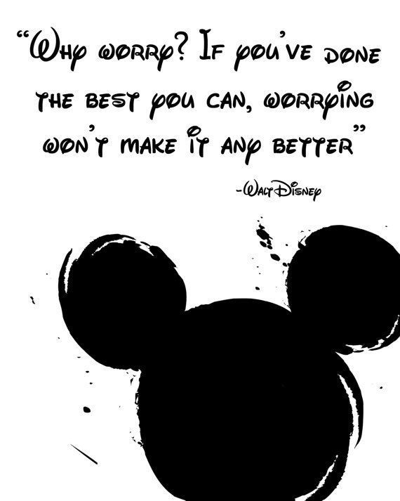 """Disney Quote Poster, Digital Download, Children's Decor, Printable Wall Art, Mickey Mouse, Prints, """"Why worry? If you've done the best you"""